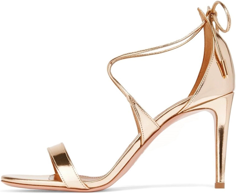Sammitop Woherrar Open Toe Ankle Strap Strap Strap Sandaler Damer sommar hög klack Lace Up skor  topp varumärke