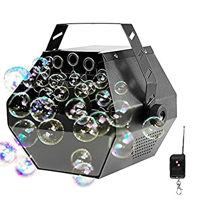 Portable Automatic Bubble Machine with Wireless Remote and Automatic Mode, softeen Automatic Bubble Blower Maker Machine for Indoor or Outdoor Use, Perfect for Party, Birthday, Wedding, Stage -Black