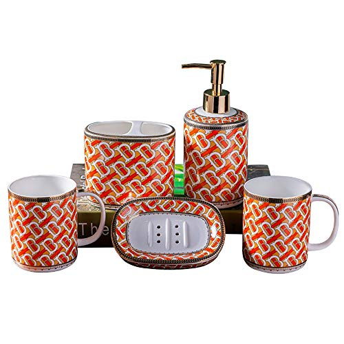 Zhenxinshiyi Bathroom Accessories Set | Bathroom Decor Set - Bathroom Set Bathroom Accessories|Ceramic 5-Piece Set | Toothbrush Holder, Liquid Dispenser, Soap Box, 2 Mouthwash Cups | Best Gift