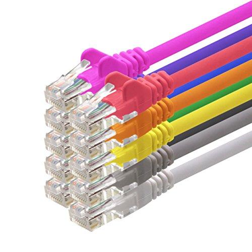 1aTTack CAT5 UTP Netzwerk-Patch-Kabel mit 2x RJ45 Stecker Set 10-Farben - 1m