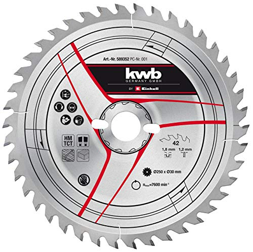 kwb by Einhell Hoja de sierra HM (Ø 250 x 30 mm, 42 dientes, apto para diversas sierras circulares de mesa Einhell, ingletadoras y sierras de inglete Kapp)
