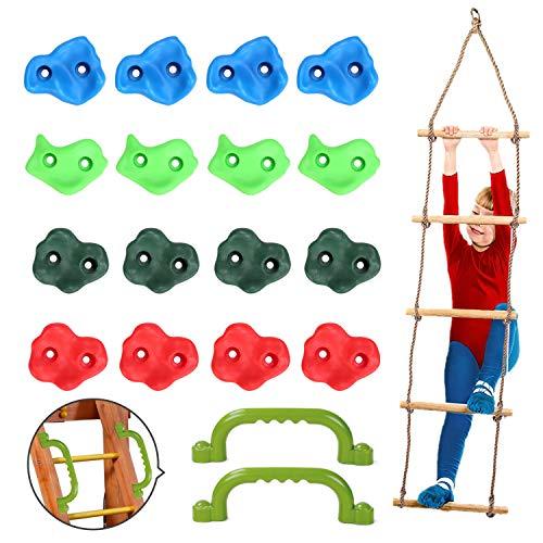 Odoland Klettergriffe 16 Klettergriffe für Kinder mit 1 Kletterseilleiter, 1 Zusatzklettergriff und 32 Befestigungsschrauben, Klettergriffe für Spielplatz und Wand