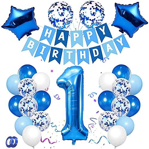 Decoración de Cumpleaños de 1 Años, Conjunto de Globos Azules Número 1 Banner de Feliz Cumpleaños Globos de Látex con Confeti de Papel de Aluminio Para Niña