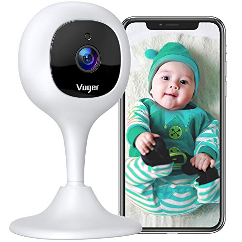 Voger Baby Monitor Camera with 2-Way Audio 1080P WiFi Home Security Camera with Motion Detection Night Vision, Compatible with Alexa