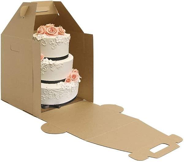 W Packaging Plain Tall Kraft Kraft Cake Carrier Box 14 X 14 X 16 High Pack Of 3