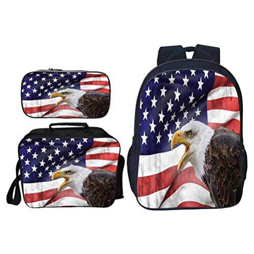 Soft and Comfortable Schoolbag, American Flag Bald Eagle Icon, for Travel/Business/College/Women/Men, Set 3 Pieces