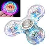 TornadoZ Fidget Spinner [5 Pcs] MEGA Pack Crystal Rainbow LED Light Up Clear Fidget Toy| Sensory Finger Toy | for Anxiety Stress Relief | Boy Girl Teen Adult