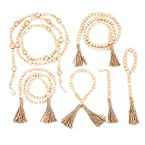6PCS Wood Bead Garland with Tassels Farmhouse Rustic Wood Bead Wall Hanging Prayer Beads for Home Decor, Wedding Vase Ornament