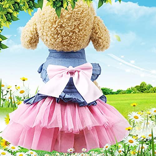 N/A Hundekleidung Elegante Hundekleidung Kleid Kleine Haustier Kleidung Cowboy Hunde Outfits Koreanische Art Rock Mode Frühling Sommer Rosa Hundekleidung Geburtstag Hundes