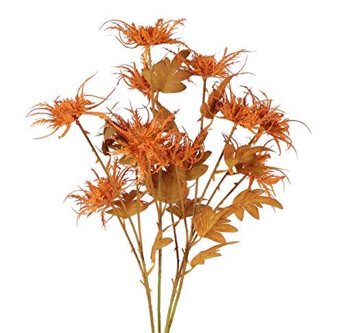 HUAESIN 4pcs Artificial Plants Fake Thorn Celery Rime Leaves Flower Arrangement Home Kitchen Office Party Fall Wedding Decoration Caramel Color