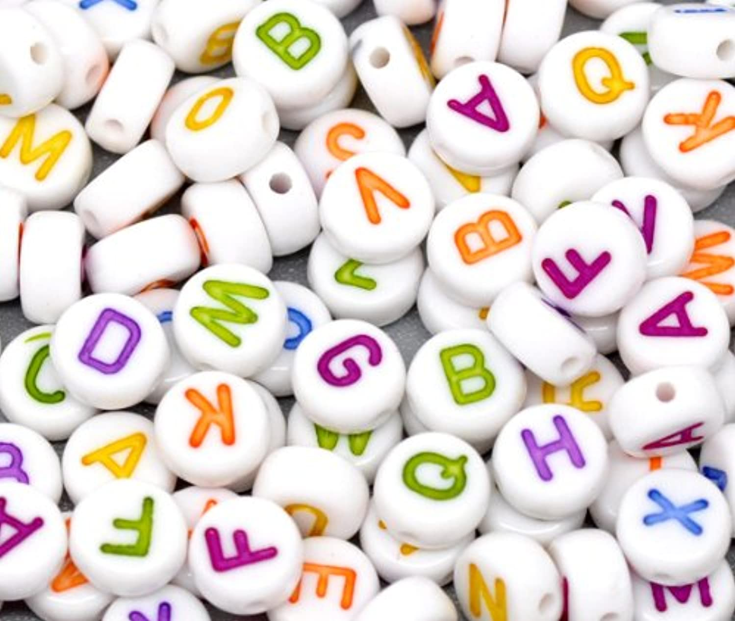 Letter Alphabet Spacer Beads 7mm (1/4), 500 Pc White with Mixed Color Letters
