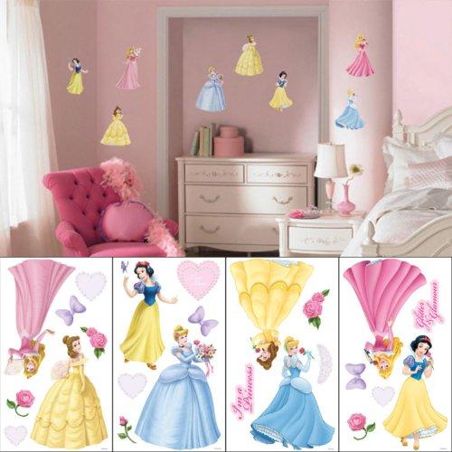 Disney princess-sticker mural - 4 feuilles - 76 sticker autocollant détachable uSA