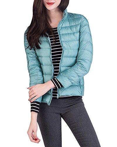 Damen Daunenjacke Packbar Stehkragen Ultra Leicht Gewicht Winter Wärm Kälteschutz Daunenmantel Pink Blau XXL