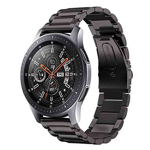 Price comparison product image Kartice Compatible with Samsung Galaxy Watch (46mm) Bands 22mm Solid Stainless Steel Metal Replacement Strap for Galaxy Watch (46mm) SM-R800 (Black)