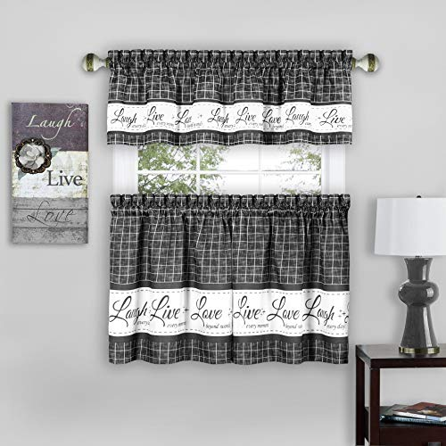 """Achim Home Furnishings, Charcoal Live, Love, Laugh Window Curtain Tier Pair and Valance Set, 58"""" x 36"""", Pair & Valance"""