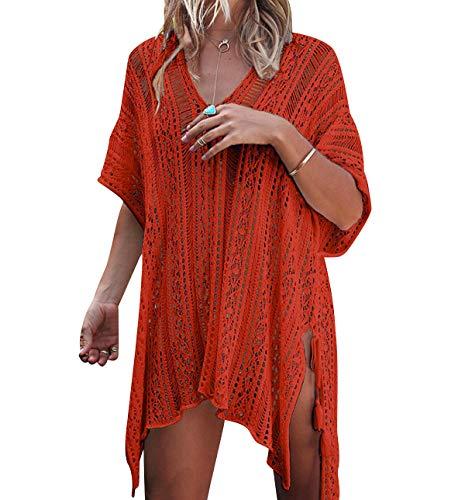 Vestido Ganchillo Playa Mujer Vestidos Pareos Playeros Kaftan Camisolas Caftanes Tunica Playa Piscina Ropa de Baño Vestido Playero Crochet Ropa de Playa Mujer Bikini Cover Up Tunicas Playera Camisola