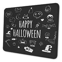 ゲーミングマウスパッド - 幸せなハロウィーンの黒と白の漫画イラスト マウスパッド おしゃれ ゲームおよびオフィス用/防水/洗える/滑り止め/ファッショナブルで丈夫 25x30cm
