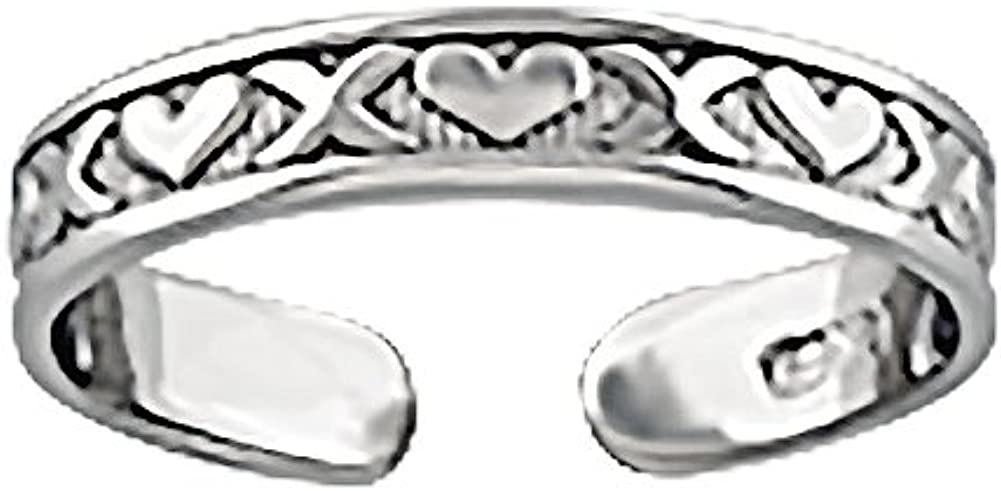 14k White Gold Nautical Ring Adjustable Toe Ring with Small X & Heart Design