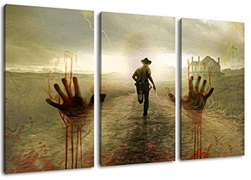 The Walking Dead Motiv, 3-teilig auf Leinwand (Gesamtformat: 120x80 cm), Hochwertiger Kunstdruck als Wandbild. Billiger als ein Ölbild! ACHTUNG KEIN Poster oder Plakat!