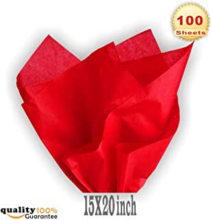PMLAND Premium Quality Gift Wrap Tissue Paper - Red - 15 Inches X 20 Inches 100 Sheets
