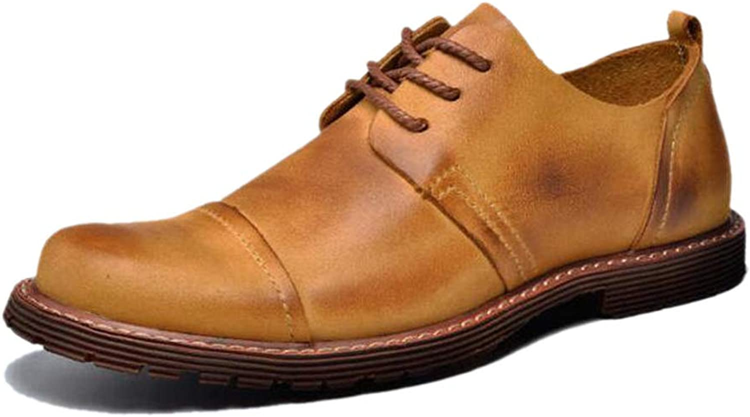 Casual Men's Derby Outdoor shoes, Brown, Yellow, Wearable, Breathable, Simple, Everyday, Hiking, Adult