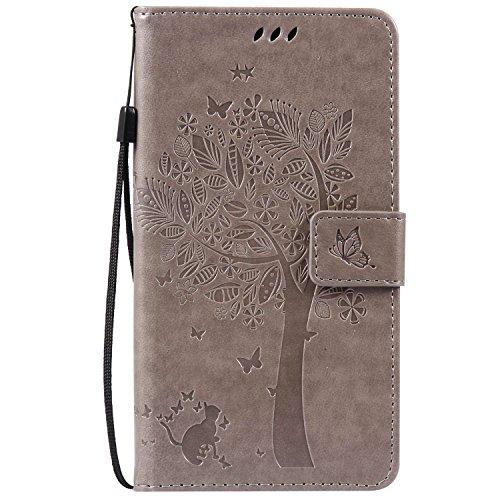 Guran® PU Leder Tasche Etui für HTC Desire 825 Smartphone Flip Cover Stand Hülle & Karte Slot Hülle-grau