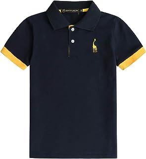 GHYUGR Polo para Niño Ropa Manga Corta Bordado de Ciervo Uniforme Escolar Performance Golf T-Shirt Camiseta Algodón Verano