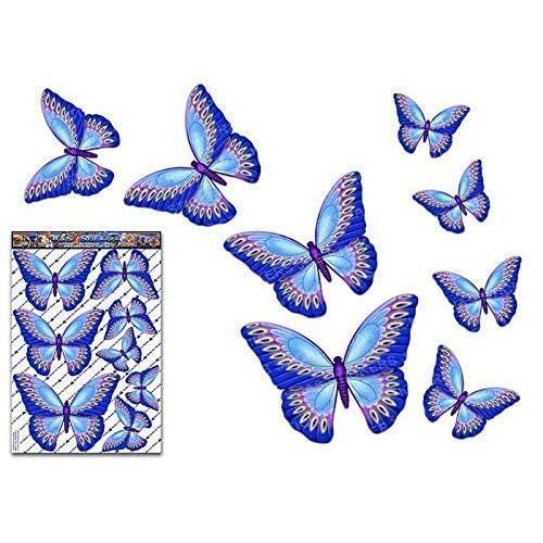 JAS Stickers® Adesivo per auto grande pacchetto animali farfalla blu per laptop, roulotte, camion, barche, biciclette ST00025BL_LGE