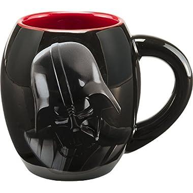 Vandor 99561 Star Wars Darth Vader 18 oz Oval Ceramic Mug, Black