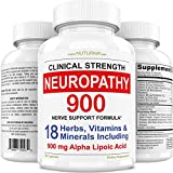 Neuropathy Support Supplement - Nerve Relief with 900 mg Alpha Lipoic Acid Daily Dose - Peripheral Neuropathy - Feet Hand Legs Toe Clinical Strength Nerve Renew Repair Support Formula 180 Caps 30 Serv