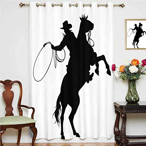 Cartoon Blackout Patio Door Curtains Cowboy and Horse Silhouette Man With a Hat Shadow Texas Rural Illustration Grommets Panels Printed Curtains ,Single Panel 63x72 inch,for Sliding Door Black and Whi