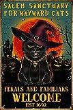 Salem Sanctuary for Wayward Cats Cat Halloween Tin Sign Cafe bar Home Wall Art Decoration Retro Metal Tin Sign 8x12 inch