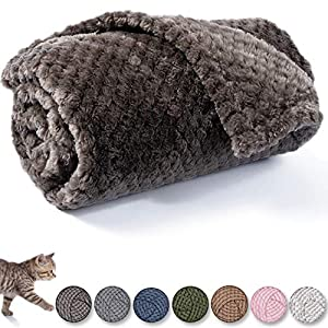Dog Blanket or Cat Blanket or Pet Blanket, Warm Soft Fuzzy Blankets for Puppy, Small, Medium, Large Dogs or Kitten, Cats, Plush Fleece Throws for Bed, Couch, Sofa, Travel (L/40″ x 48″, Dark Grey)
