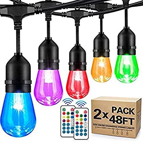 Paquete de 2 luces de cadena para exteriores, luces LED regulables, de 14,6 m, impermeable, para colgar con mando a distancia, bombilla irrompible, para patio, jardín, cafetería, interior