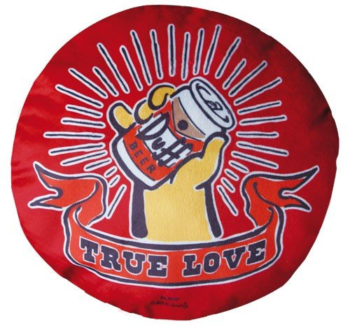 The Simpsons Duff Beer Kissen True Love rundes Duff Bier Kuschelkissen aus Velours