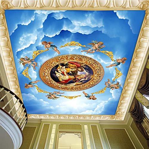 Hintergrundbild 3D Wallpaper Wohnzimmer 3D-Tapete Europäischer Stil Blauer Himmel Engel Figur Foto Decke Wandbild Wohnzimmer Hotel Zenith Gemälde Luxus Kunst Tapete 3D