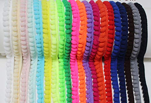 YYCRAFT 20 Yards Tiny Pom Pom Ball Fringe Trim DIY Craft Sewing Accessory for Home Curtain Clothes Pillow Decoration(pom Size 5mm) (Mix Color)