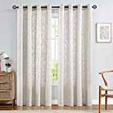 jinchan Burlap Linen Window Curtains for Kitchen Curtain for Bedroom Living Room 95 inch Length Off White Grommet 2 Panels