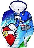 Silver Basic Sudadera con Capucha de Sonic Unisex para Niños y Niñas Inspirada en el Videojuego Sonic The Hedgehog Disfraz de Cosplay XL,2592Cartoon Sonic-3
