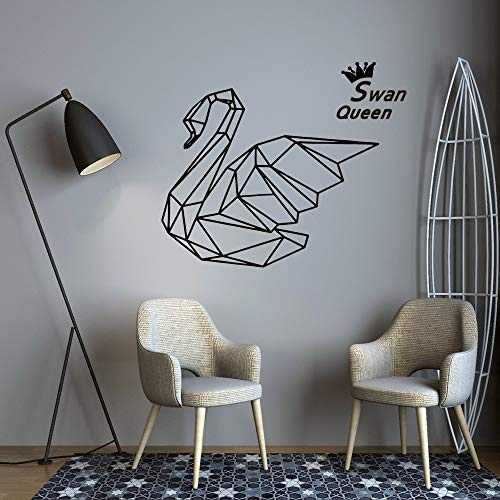 hetingyue creatieve zwanenkoningin geometrische vinyl wandtattoo woonkamer kinderen slaapkamer wanddecoratie sticker wanddecoratie