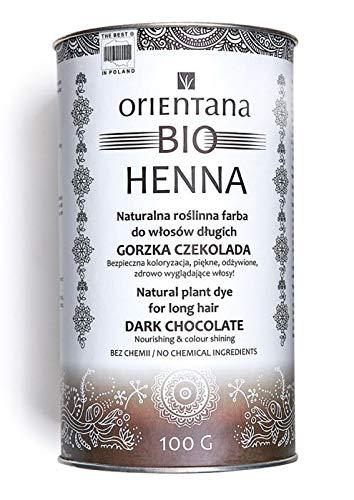 Orientana BIO HENNA für langes Haar, Bitterschokolade - 100% vegan, 100% aus Kräutern, eine dauerhafte Haarfarbe, die dem Haar Fülle verleiht, 100 g