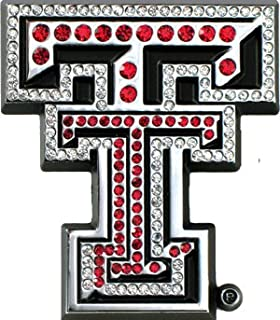 Texas Tech Red Raiders Premium Chrome Metal Auto Emblem with Crystals