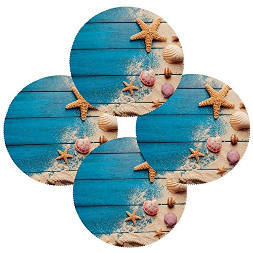 N\O Round Placemats Set of 4 Starfish Shell Blue Wood Pattern Dining Table Mats Kitchen Waterproof Washable Place Mats Wipeable Boho Tablemats for Home Decor