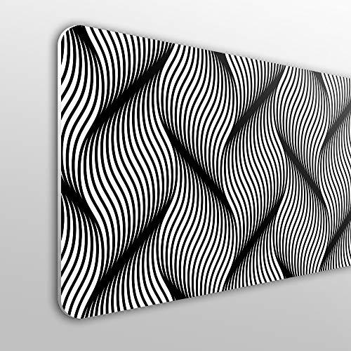 MEGADECOR Cabecero Cama PVC 10mm Decorativo Económico. Ondas Geométricas Ondulado Fondo Monocromo (135cm x 60cm)