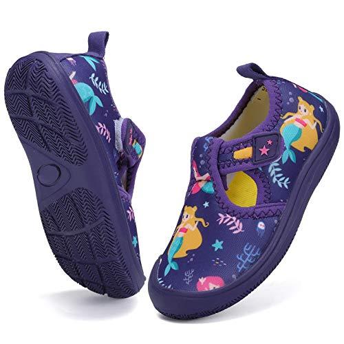 DimaiGlobal Zapatos de Agua Calcetines Descalzos de Secado rápido para Niñas Niños Piscina de Playa Natación para Buceo Surf Yoga Ejercicio Zapatos para Interiores 26EU Púrpura
