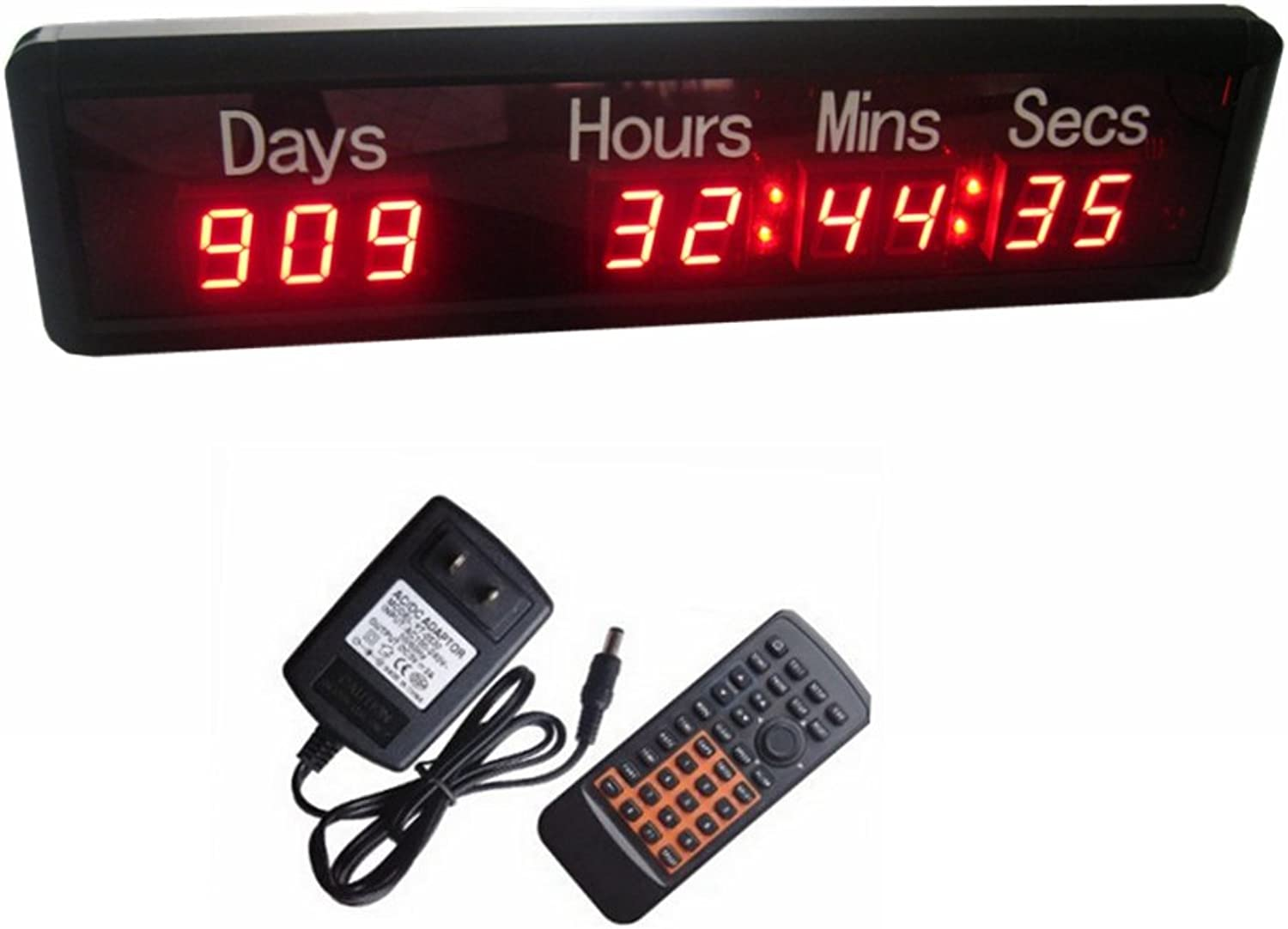 AZOOU 1-inch 9Digits LED Event Timer Countdown up Clock with Days Hours Mins Secs Max Up to 1000 Days Red color