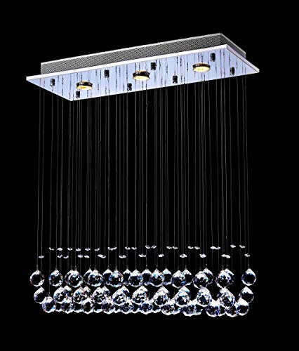 "Saint Mossi Chandelier Modern K9 Crystal Raindrop Chandelier Lighting Flush mount LED Ceiling Light Fixture Pendant Lamp for Dining Room Bathroom Bedroom Livingroom 3 GU10 Bulb Required H33"" W10"" L25"""