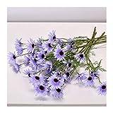 HETHYAN Ramo de flores artificiales de margaritas blancas para decoración del hogar, boda, jardín, bricolaje, seda nupcial (color morado)
