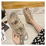 Youpin Celebrity mesh Double Metal Buckle Strap Platform Sandals Women Creepers Open Toe Roman Sandalias Breath Muffins Femmes Sandales (Color : Beige, Shoe Size : 6)