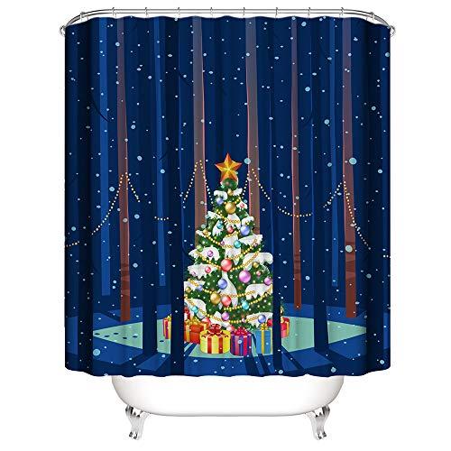 laamei' Cortina de Ducha Impermeable de Baño 3D Digital Impresión Cortinas de Baño Adornos Navidad Decorativa...